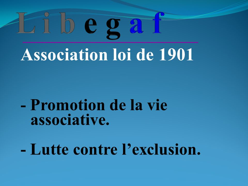 Association loi de 1901 - Promotion de la vie associative. - Lutte contre lexclusion.