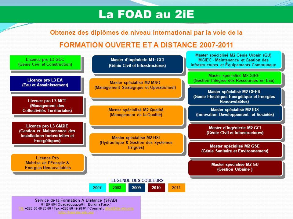 18 Quelques enseignements des FOAD proposées sur le portail AUF : - Sur les 46 formations proposées pour la rentrée 2007-2008 : * le 2iE est le seul Institut à proposer un Master dans le domaine des Sciences de l Ingénieur « non tourné » sur l Informatique et les Télécom.