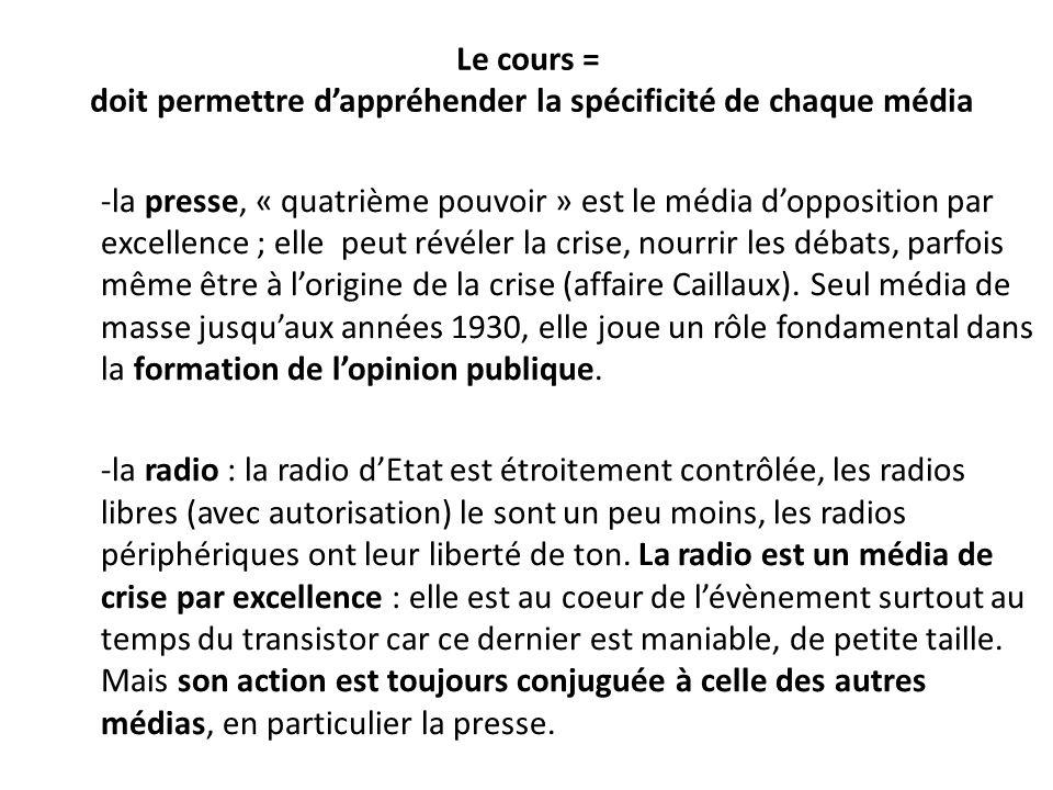 Le cours = doit permettre dappréhender la spécificité de chaque média -la presse, « quatrième pouvoir » est le média dopposition par excellence ; elle