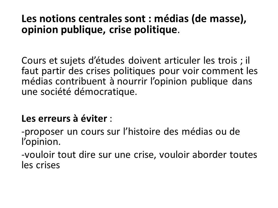 Les notions centrales sont : médias (de masse), opinion publique, crise politique. Cours et sujets détudes doivent articuler les trois ; il faut parti