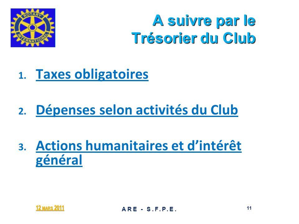 A suivre par le Trésorier du Club A suivre par le Trésorier du Club 1. 1. Taxes obligatoires 2. 2. Dépenses selon activités du Club 3. 3. Actions huma
