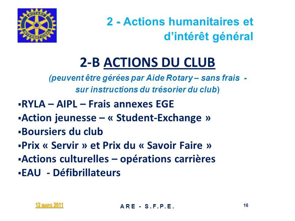 - 2 - Actions humanitaires et dintérêt général 2-B ACTIONS DU CLUB (peuvent être gérées par Aide Rotary – sans frais - sur instructions du trésorier d