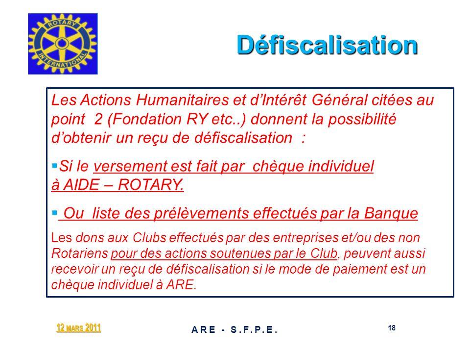 Défiscalisation Défiscalisation 12 MARS 2011 18 ARE - S.F.P.E. Les Actions Humanitaires et dIntérêt Général citées au point 2 (Fondation RY etc..) don