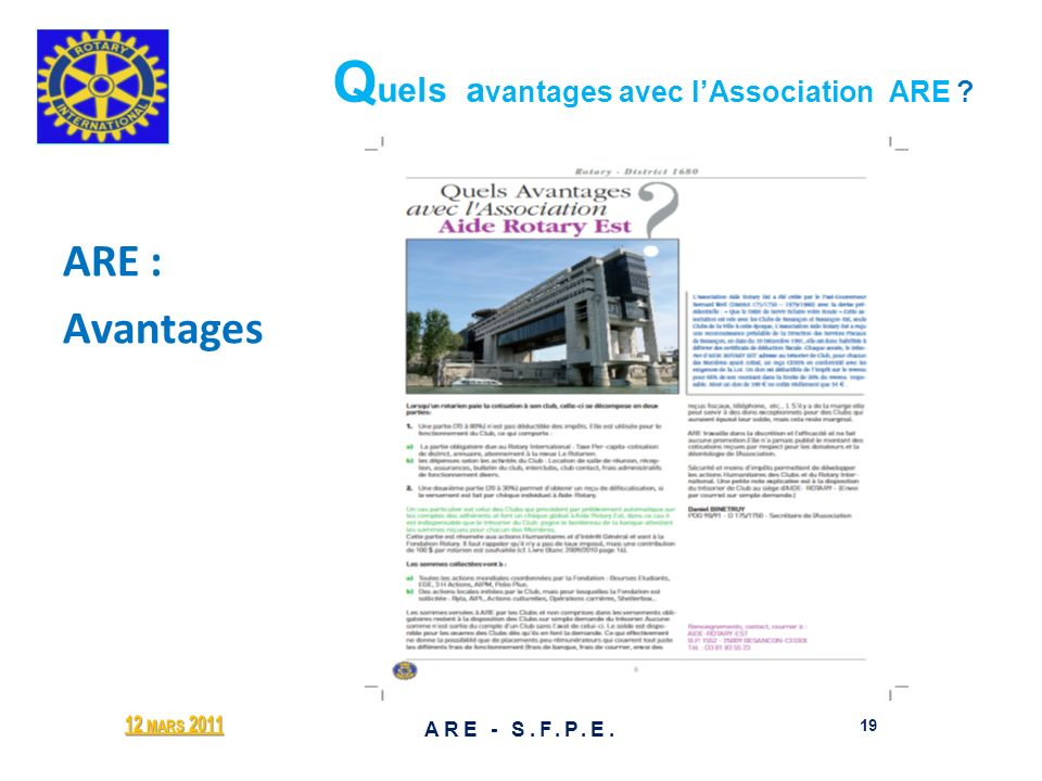 Q uels a vantages avec lAssociation ARE ? ARE : Avantages 12 MARS 2011 19 ARE - S.F.P.E.