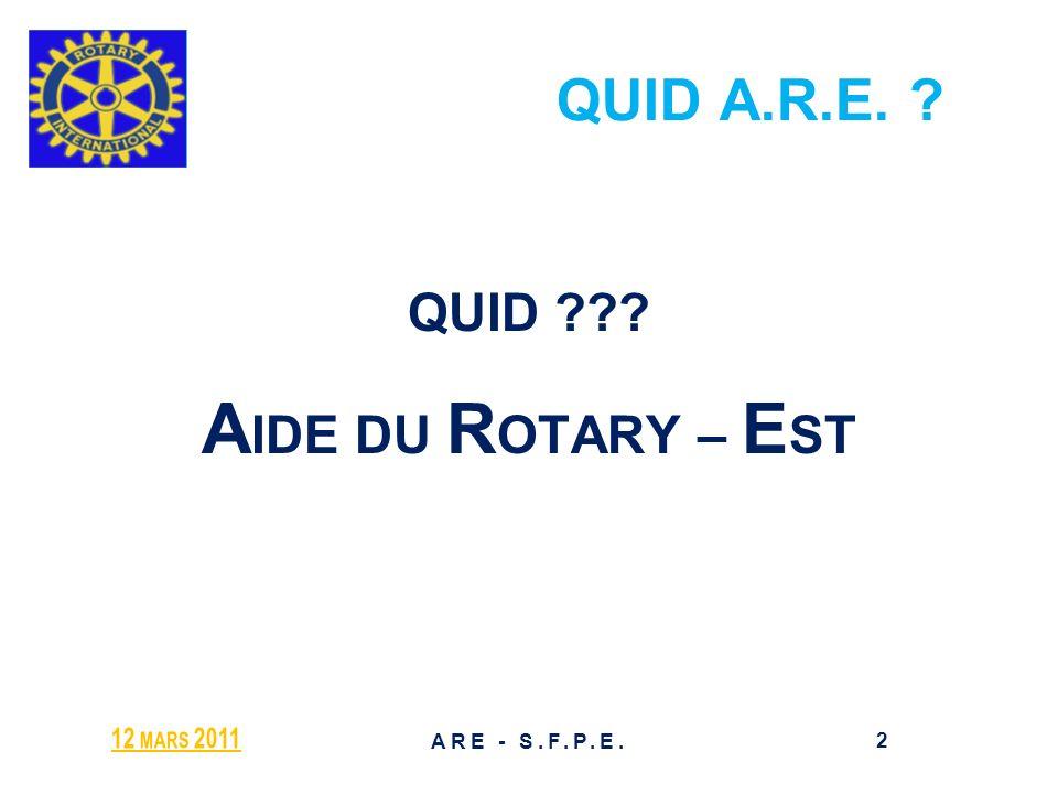 AIDE du ROTARY - EST ASSOCIATION HUMANITAIRE et DINTERET GENERAL pour les ACTIONS des ROTARIENS Association Loi 1901 – J.O.