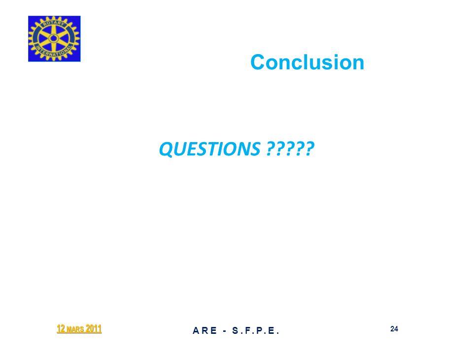 Conclusion QUESTIONS ????? 12 MARS 2011 24 ARE - S.F.P.E.