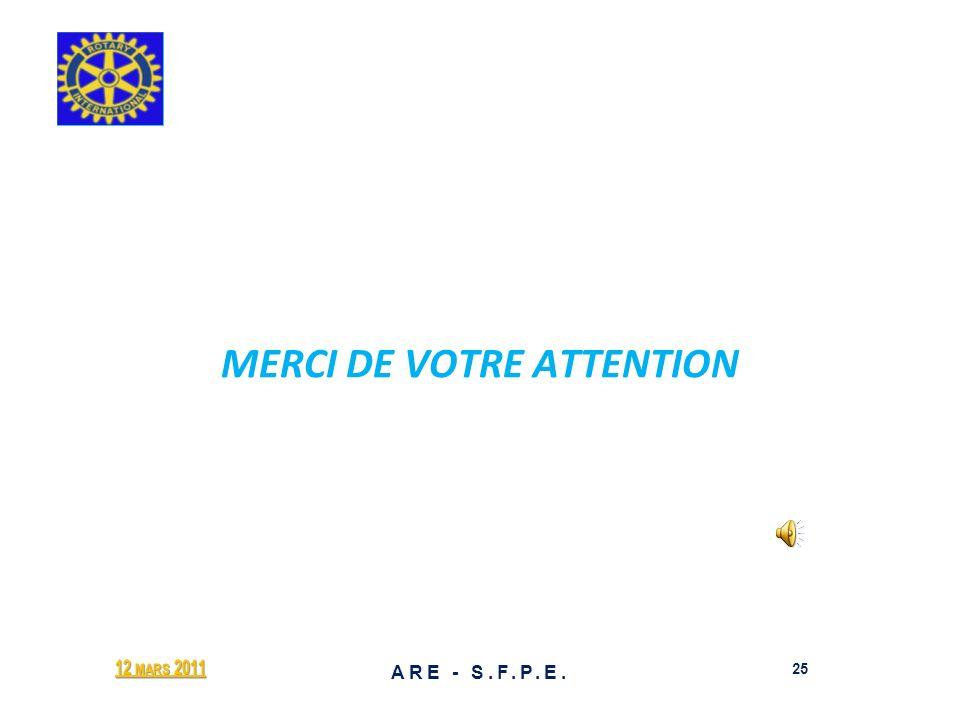 MERCI DE VOTRE ATTENTION 12 MARS 2011 25 ARE - S.F.P.E.