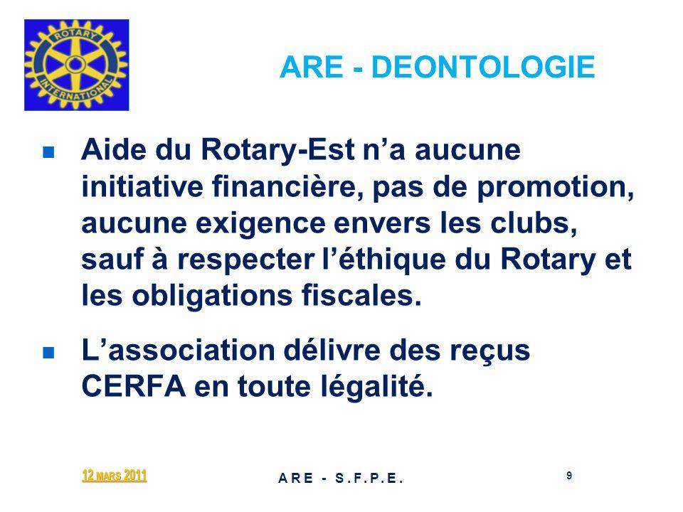 ARE - DEONTOLOGIE Aide du Rotary-Est na aucune initiative financière, pas de promotion, aucune exigence envers les clubs, sauf à respecter léthique du