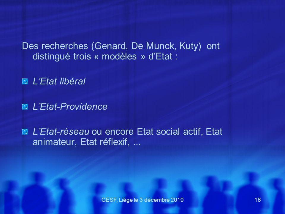 CESF, Liège le 3 décembre 201016 Des recherches (Genard, De Munck, Kuty) ont distingué trois « modèles » dEtat : LEtat libéral LEtat-Providence LEtat-