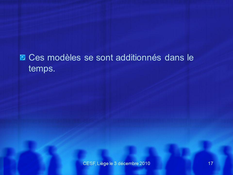 CESF, Liège le 3 décembre 201017 Ces modèles se sont additionnés dans le temps.