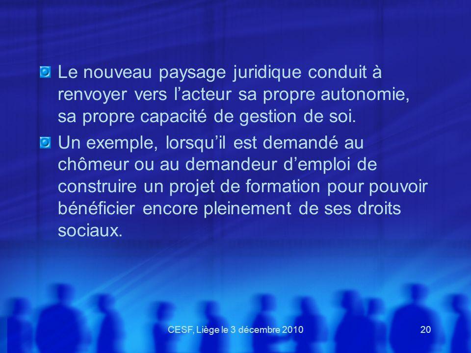 CESF, Liège le 3 décembre 201020 Le nouveau paysage juridique conduit à renvoyer vers lacteur sa propre autonomie, sa propre capacité de gestion de so