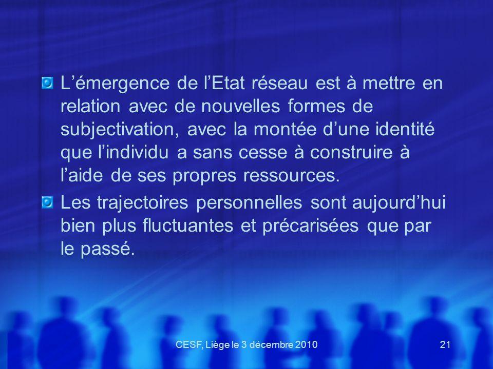 CESF, Liège le 3 décembre 201021 Lémergence de lEtat réseau est à mettre en relation avec de nouvelles formes de subjectivation, avec la montée dune i