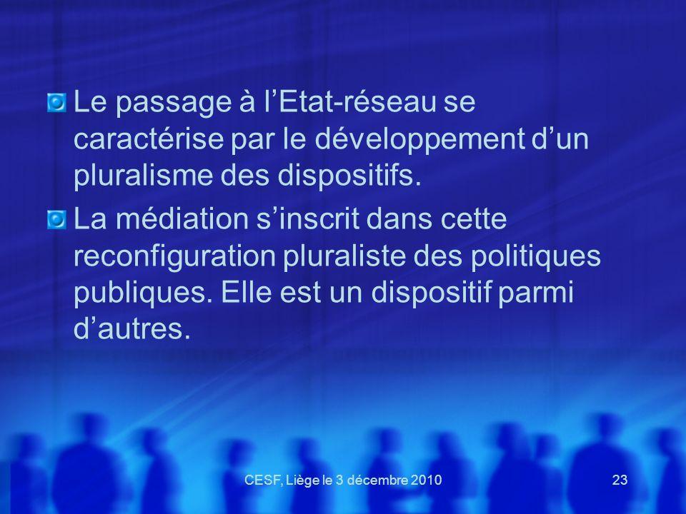 CESF, Liège le 3 décembre 201023 Le passage à lEtat-réseau se caractérise par le développement dun pluralisme des dispositifs. La médiation sinscrit d