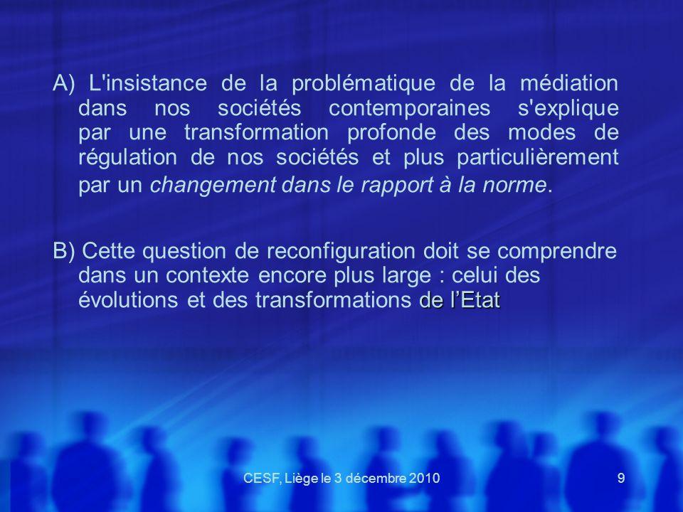 CESF, Liège le 3 décembre 20109 A) L'insistance de la problématique de la médiation dans nos sociétés contemporaines s'explique par une transformation