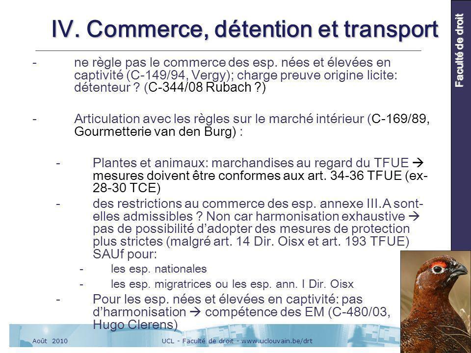 UCL - Faculté de droit - www.uclouvain.be/drtAoût 2010 Faculté de droit IV.