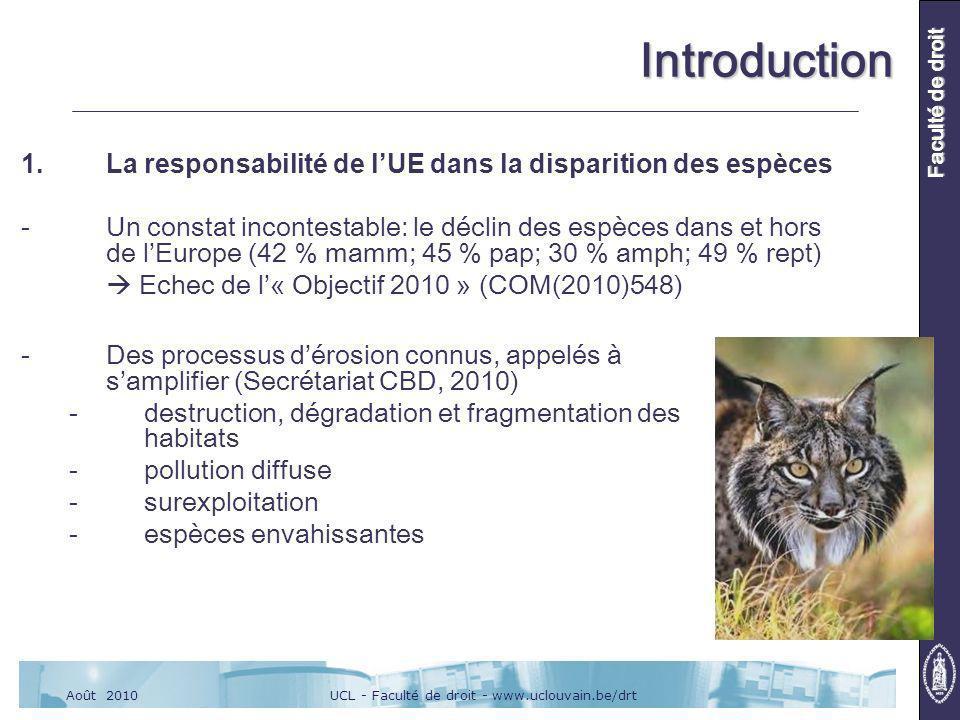 UCL - Faculté de droit - www.uclouvain.be/drtAoût 2010 Faculté de droit Introduction 1.La responsabilité de lUE dans la disparition des espèces -Un constat incontestable: le déclin des espèces dans et hors de lEurope (42 % mamm; 45 % pap; 30 % amph; 49 % rept) Echec de l« Objectif 2010 » (COM(2010)548) -Des processus dérosion connus, appelés à samplifier (Secrétariat CBD, 2010) -destruction, dégradation et fragmentation des habitats -pollution diffuse -surexploitation -espèces envahissantes