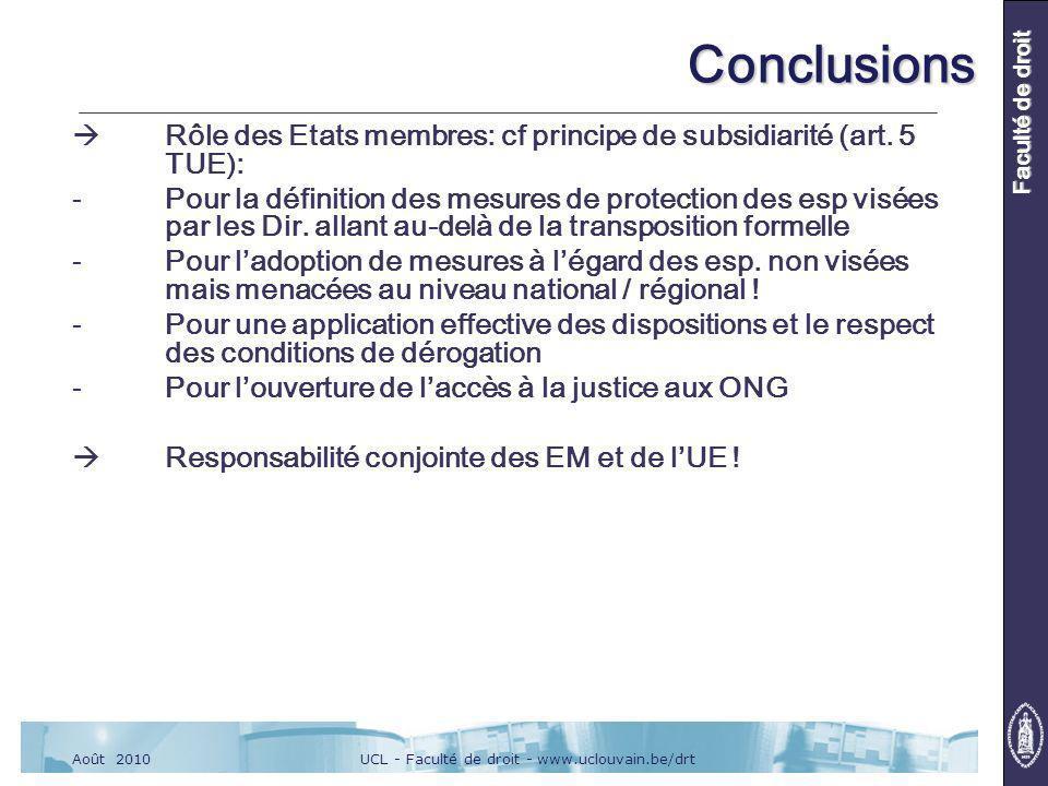 UCL - Faculté de droit - www.uclouvain.be/drtAoût 2010 Faculté de droit Conclusions Rôle des Etats membres: cf principe de subsidiarité (art.