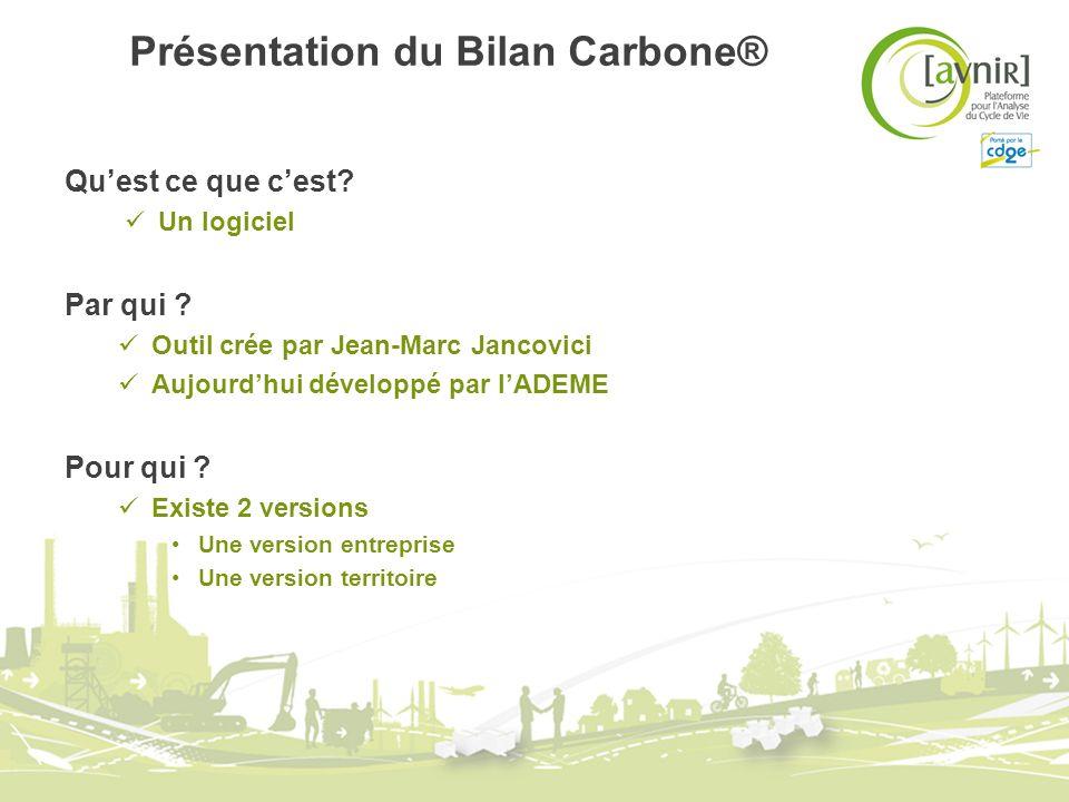 Présentation du Bilan Carbone® Quest ce que cest? Un logiciel Par qui ? Outil crée par Jean-Marc Jancovici Aujourdhui développé par lADEME Pour qui ?
