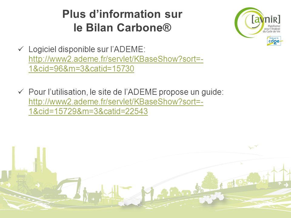Plus dinformation sur le Bilan Carbone® Logiciel disponible sur lADEME: http://www2.ademe.fr/servlet/KBaseShow?sort=- 1&cid=96&m=3&catid=15730 http://