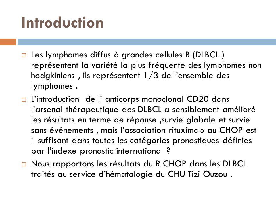 Introduction Les lymphomes diffus à grandes cellules B (DLBCL ) représentent la variété la plus fréquente des lymphomes non hodgkiniens, ils représent