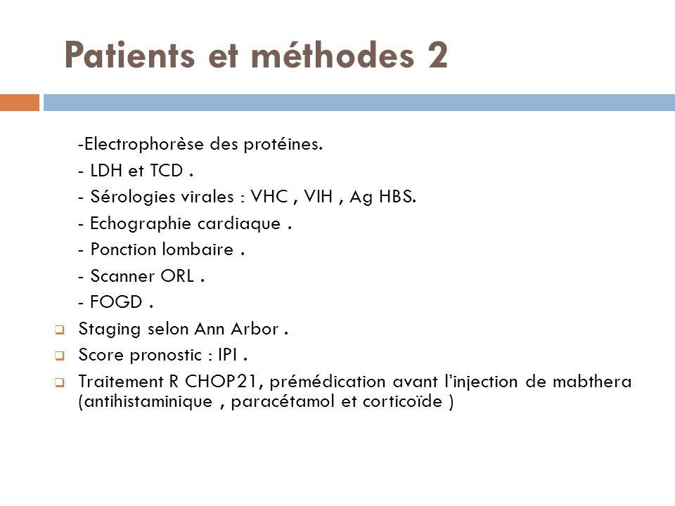 Patients et méthodes 2 -Electrophorèse des protéines. - LDH et TCD. - Sérologies virales : VHC, VIH, Ag HBS. - Echographie cardiaque. - Ponction lomba