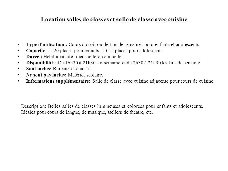 Location Grande salle Type d utilisation : Conférence, concert, mariage, danse, atelier de peinture etc..