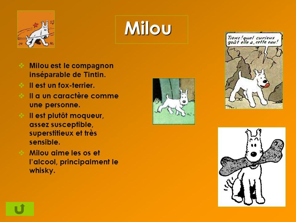 Milou Milou est le compagnon inséparable de Tintin. Il est un fox-terrier. Il a un caractère comme une personne. Il est plutôt moqueur, assez suscepti