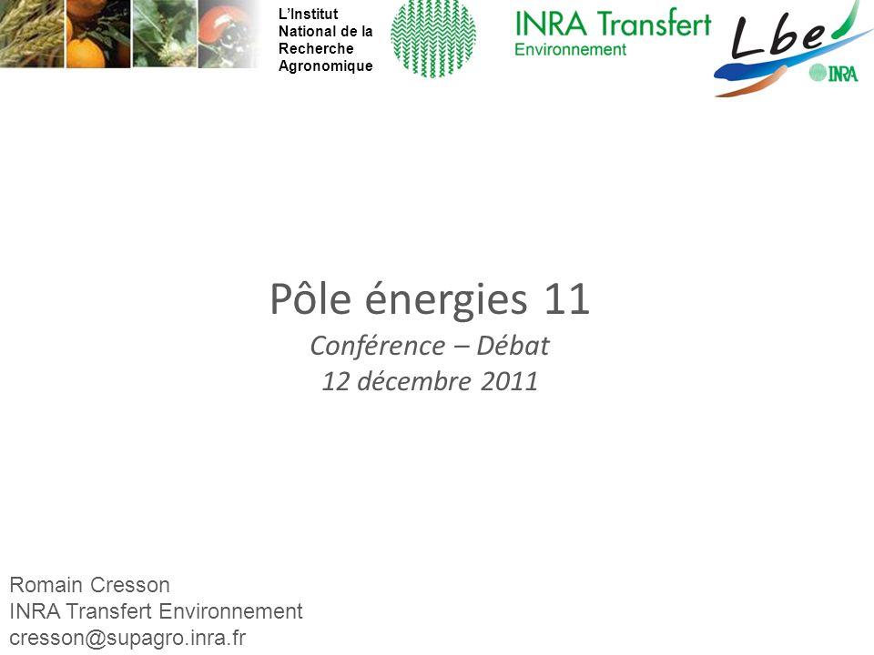Romain Cresson - cresson@supagro.inra.fr Pôle énergies 11 Conférence – Débat 12 décembre 2011 Romain Cresson INRA Transfert Environnement cresson@supa
