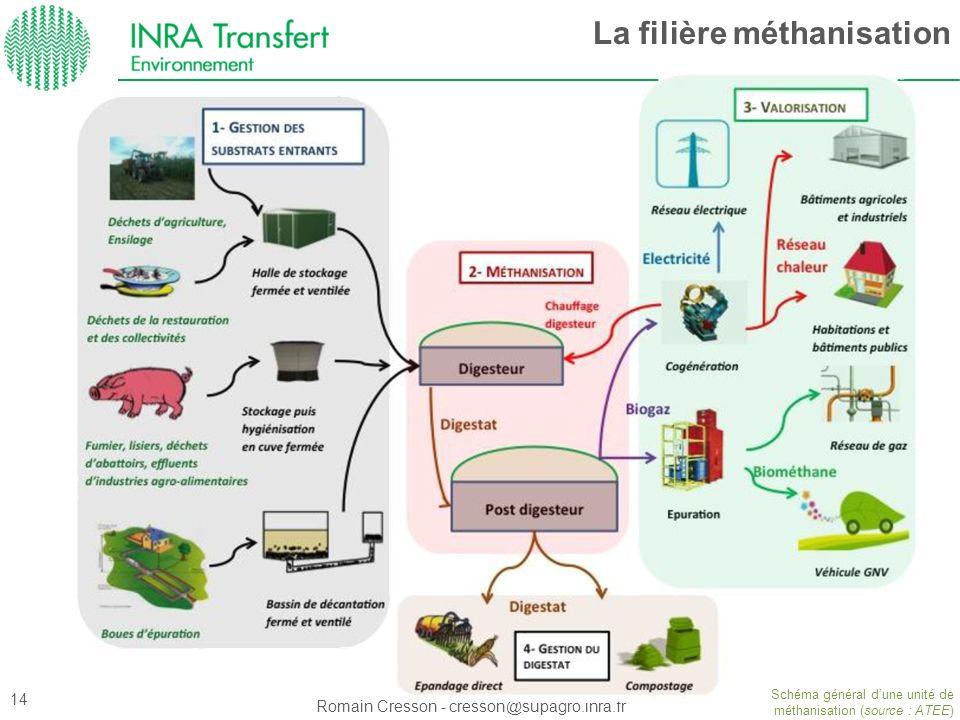 Romain Cresson - cresson@supagro.inra.fr La filière méthanisation Schéma général dune unité de méthanisation (source : ATEE) 14
