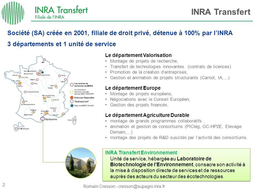 Romain Cresson - cresson@supagro.inra.fr INRA Transfert Le département Valorisation Montage de projets de recherche, Transfert de technologies innovan