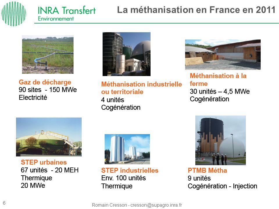 Romain Cresson - cresson@supagro.inra.fr La méthanisation en France en 2011 6