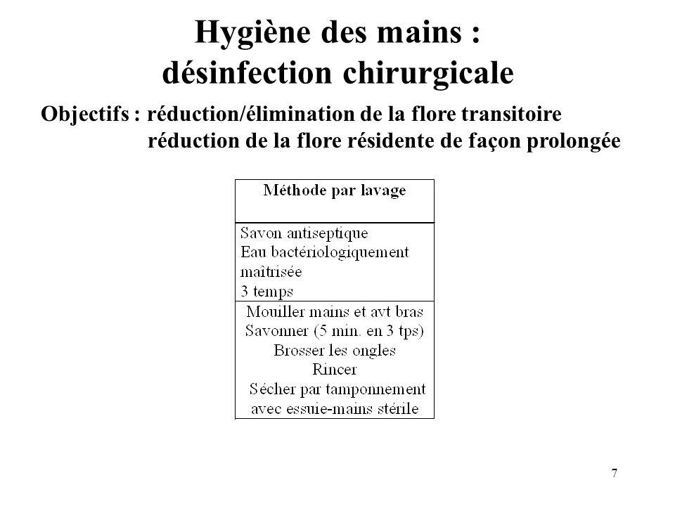 8 Hygiène des mains : désinfection chirurgicale Objectifs : réduction/élimination de la flore transitoire réduction de la flore résidente de façon prolongée