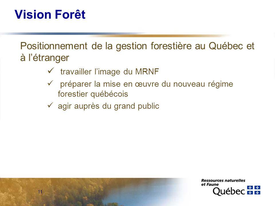 11 Vision Forêt Positionnement de la gestion forestière au Québec et à létranger travailler limage du MRNF préparer la mise en œuvre du nouveau régime forestier québécois agir auprès du grand public