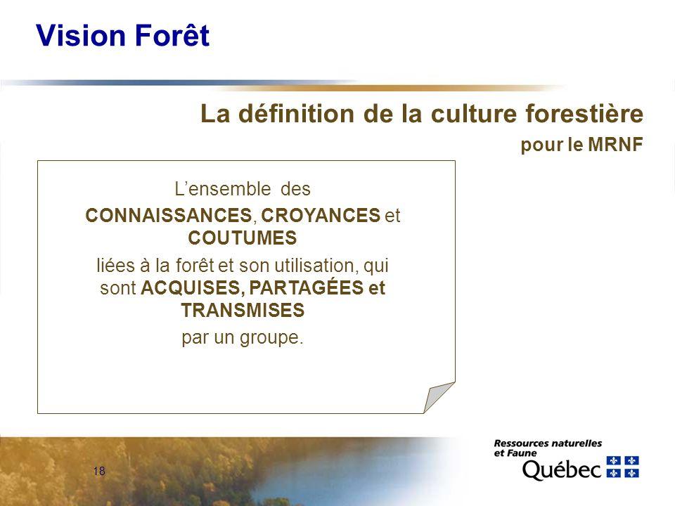 18 Vision Forêt La définition de la culture forestière pour le MRNF Lensemble des CONNAISSANCES, CROYANCES et COUTUMES liées à la forêt et son utilisation, qui sont ACQUISES, PARTAGÉES et TRANSMISES par un groupe.