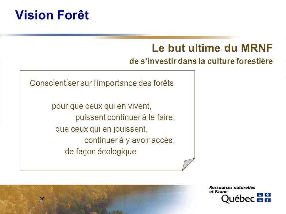 20 Vision Forêt Le but ultime du MRNF de sinvestir dans la culture forestière Conscientiser sur limportance des forêts pour que ceux qui en vivent, puissent continuer à le faire, que ceux qui en jouissent, continuer à y avoir accès, de façon écologique.