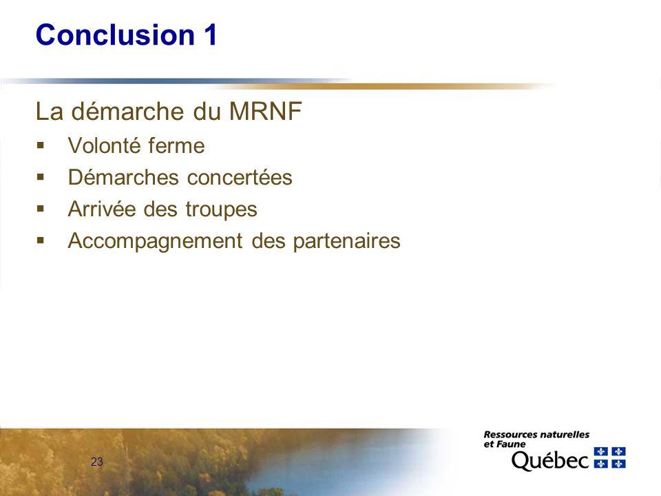 23 Conclusion 1 La démarche du MRNF Volonté ferme Démarches concertées Arrivée des troupes Accompagnement des partenaires