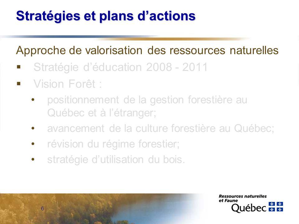 6 Stratégies et plans dactions Approche de valorisation des ressources naturelles Stratégie déducation 2008 - 2011 Vision Forêt : positionnement de la gestion forestière au Québec et à létranger; avancement de la culture forestière au Québec; révision du régime forestier; stratégie dutilisation du bois.