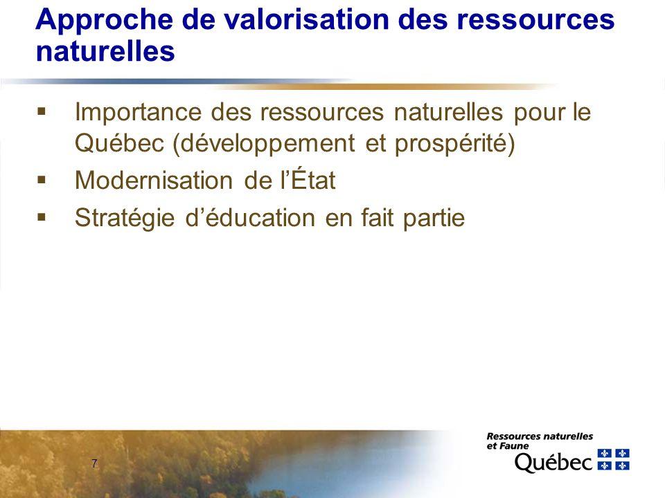 7 Approche de valorisation des ressources naturelles Importance des ressources naturelles pour le Québec (développement et prospérité) Modernisation de lÉtat Stratégie déducation en fait partie
