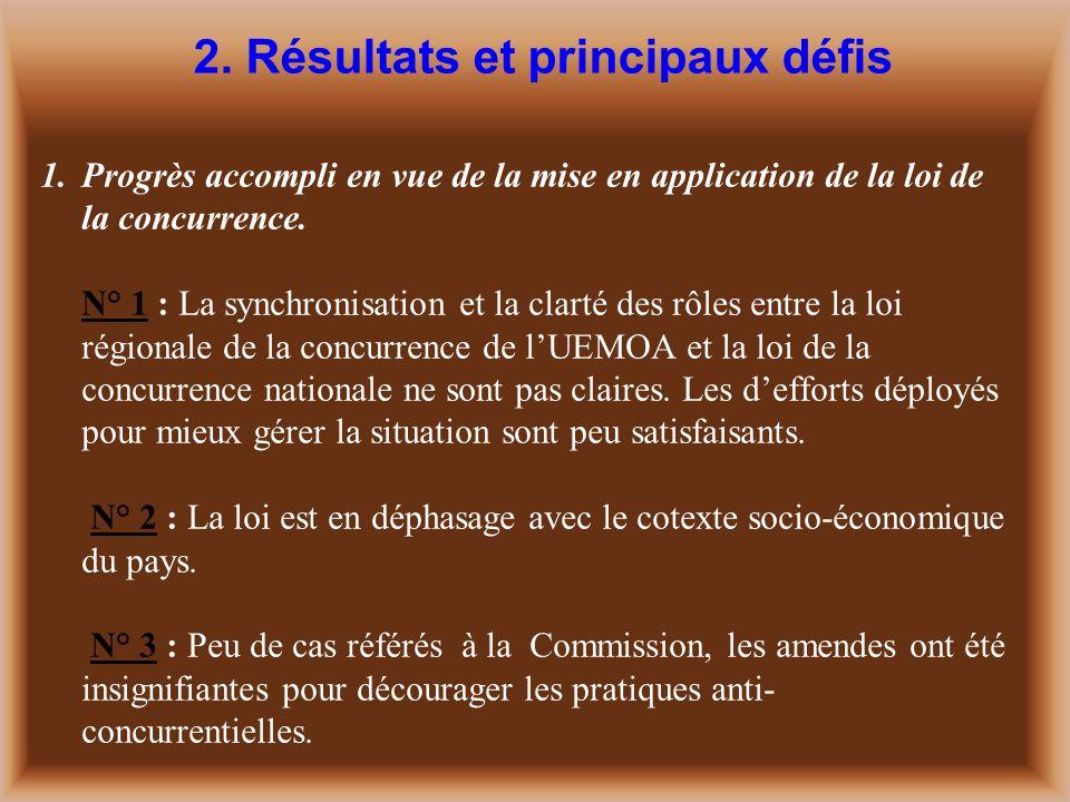1.Progrès accompli en vue de la mise en application de la loi de la concurrence.