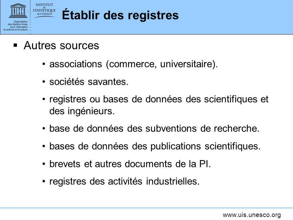 www.uis.unesco.org Établir des registres Autres sources associations (commerce, universitaire). sociétés savantes. registres ou bases de données des s