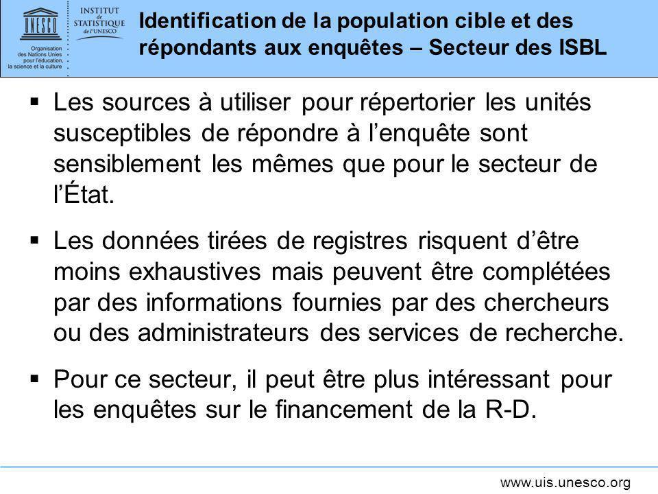 www.uis.unesco.org Identification de la population cible et des répondants aux enquêtes – Secteur des ISBL Les sources à utiliser pour répertorier les