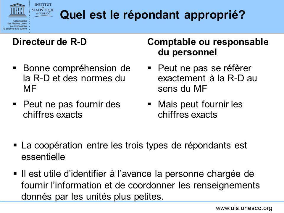 www.uis.unesco.org Quel est le répondant approprié? Directeur de R-D Bonne compréhension de la R-D et des normes du MF Peut ne pas fournir des chiffre