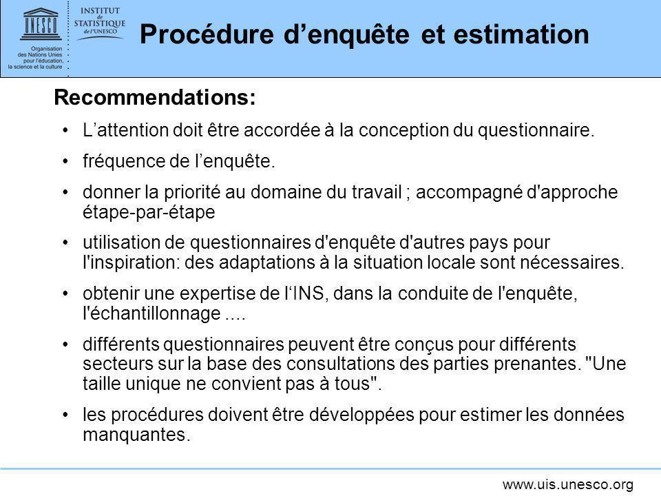www.uis.unesco.org Procédure denquête et estimation Recommendations: Lattention doit être accordée à la conception du questionnaire. fréquence de lenq