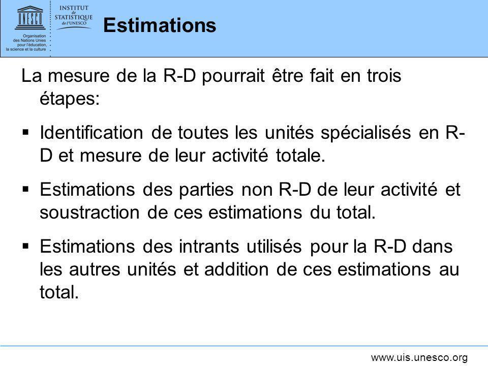 www.uis.unesco.org Estimations La mesure de la R-D pourrait être fait en trois étapes: Identification de toutes les unités spécialisés en R- D et mesu