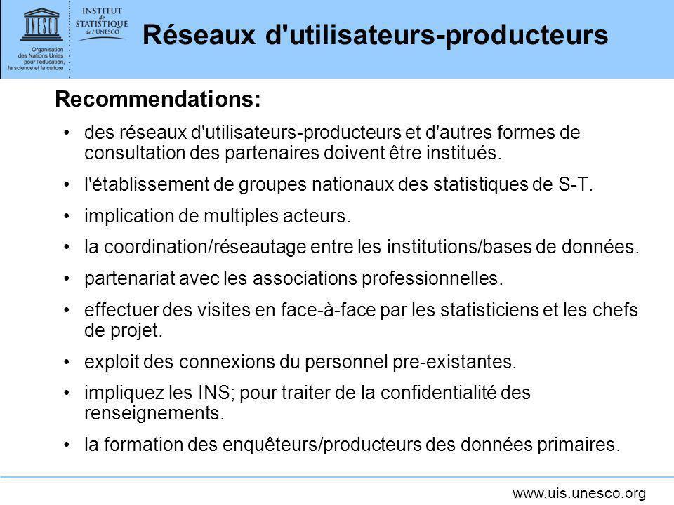 www.uis.unesco.org Réseaux d'utilisateurs-producteurs Recommendations: des réseaux d'utilisateurs-producteurs et d'autres formes de consultation des p