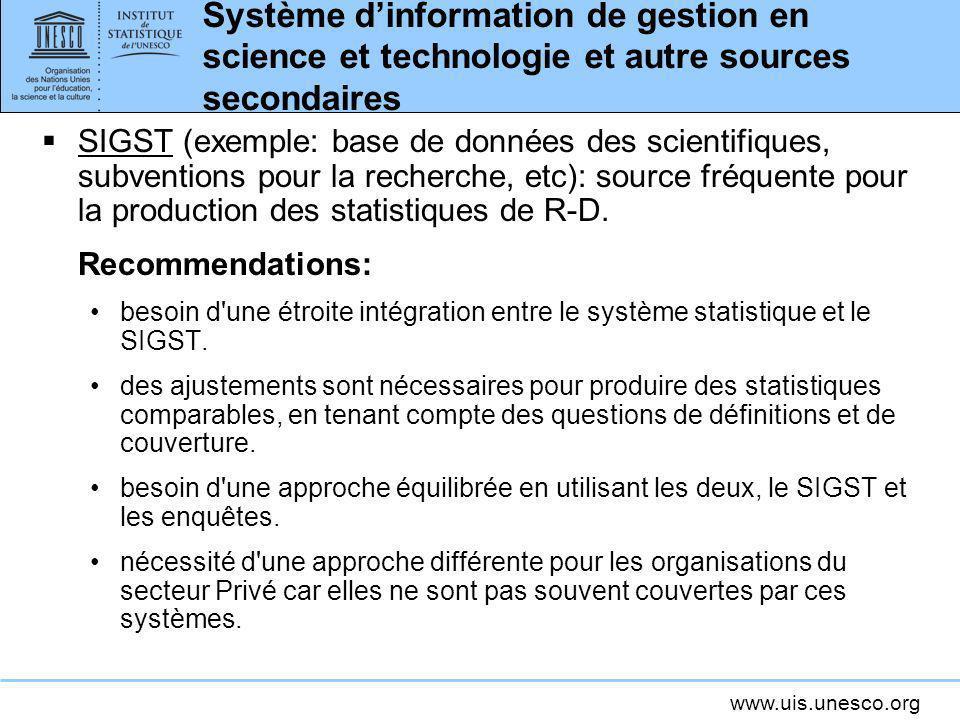 www.uis.unesco.org Système dinformation de gestion en science et technologie et autre sources secondaires SIGST (exemple: base de données des scientif