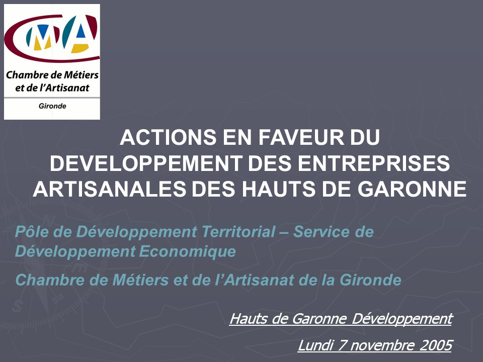 ACTIONS EN FAVEUR DU DEVELOPPEMENT DES ENTREPRISES ARTISANALES DES HAUTS DE GARONNE Pôle de Développement Territorial – Service de Développement Economique Chambre de Métiers et de lArtisanat de la Gironde Hauts de Garonne Développement Lundi 7 novembre 2005