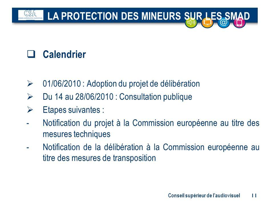 Conseil supérieur de laudiovisuel 11 Calendrier 01/06/2010 : Adoption du projet de délibération Du 14 au 28/06/2010 : Consultation publique Etapes sui