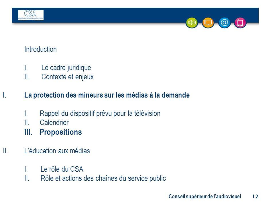 Conseil supérieur de laudiovisuel 12 Introduction I. Le cadre juridique II. Contexte et enjeux I.La protection des mineurs sur les médias à la demande