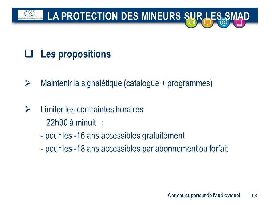 Conseil supérieur de laudiovisuel 13 Les propositions Maintenir la signalétique (catalogue + programmes) Limiter les contraintes horaires 22h30 à minu